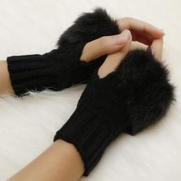Faux Onz Wrist Królik Mitten Futro/Kosmków Kobiet Rękawice Dziane Arm Bez Palców Cieplejsze Zimowe Rękawiczki Z Dzianiny Nowy wr
