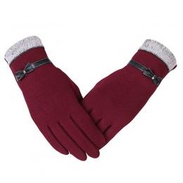 KUYOMENS Nowy Mody Kobiety Rękawiczki Jesień Zima Ładny Łuk Ciepłe cieplej Rękawiczki Pełne Palców Rękawice Z Jednym Palcem Kobi