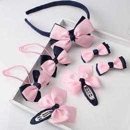 M MISM 1 zestaw = 7 sztuk Dzieci Akcesoria Hairband Spinki Gumy do Włosów Dziewczynek Piękne Bow Nakrycia Głowy Włosów klip Pałą