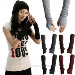 Ciepłe dzianiny wełna rękawiczki bez palców z dzianiny zimowa half finger mankietów rękawice kobiety zima długi mitenki rękawicz