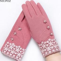 Moda Eleganckie Damskie Rękawice Z Ekranem Dotykowym Zima Panie Koronki Warm Cashmere Łuk Pełny Finger Guantes Rękawice Na Rękę