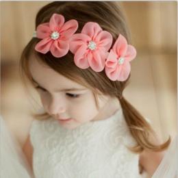2017 Nowa Wstążka Perła Diament Hairband Noworodka opaski Do Włosów Do Szycia 3 Kwiaty Pałąk Dzieci Akcesoria do Włosów dla Dzie