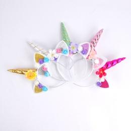 1 sztuk DIY Dzieci Unicorn Pałąk Glitter Hairband Rainbow Unicorn Róg Hairband jednorożec Bonus dla Party