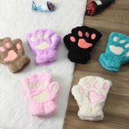 1 para Kobiety Dziewczyny Piękne Zimowe Ciepłe Rękawiczki Bez Palców Puszyste Niedźwiedź Kot Pluszowy Paw Claw Half Finger Rękaw