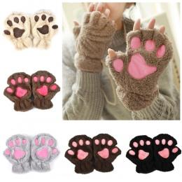 Zima Piękne Rękawiczki Kobiety Bear Cat Claw Paw Mitten Pluszowe Fingerless Glovers Bezpieczeństwa Pracy Ciepłe Krótki Palec Pół