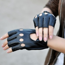 1 para Kobiet Pół Palca Rękawiczki Jazdy 1 sztuk PU Skórzane Rękawiczki Bez Palców Dla Kobiet Czarny