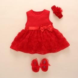 New Born Baby Dziewczyny Niemowląt Dress & ubrania Letnie Dzieci Party Urodziny Stroje 1-2years Buty Zestaw Chrzciny Suknia Dzie