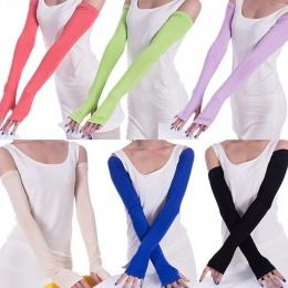 Kobiety Mitenka Przeciwsłoneczne Bawełniane Długie Rękawiczki Bez Palców Half Finger Mankietów Anty-uv Słońce Ochrona Rąk Prosta