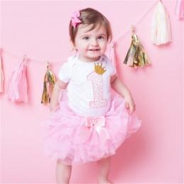 Bawełna Dziewczynek Ubrania 1 Rok 1st Urodziny Sukienka Sukienek Dla Dziewczyna Maluch Dzieci Chrzest Suknia Tutu Stroje z pałąk