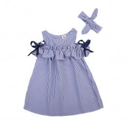 2018 nowe Gorące Letnie Maluch Dzieci Dziewczynek piękne Ubrania Niebieskie Paski Off-shoulder ruffles Strona Suknia Formalne Su