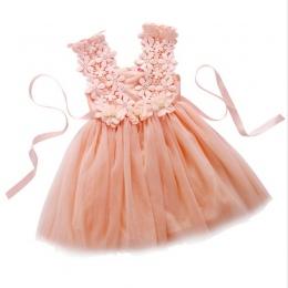 Nowe XMAS Dziewczynek Party Lace Tulle Kwiat Suknia Fancy Suknia Druhna Sukienka Sundress Dziewczyny Sukni Księżniczki Dziewczyn