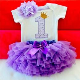 Dzieci Sukienki Dla Dziewczynek 2018 Tutu Dziewczyny 1st Pierwsze Urodziny strona Sukienka Baby Girl 1 Rok Chrzest Niemowląt Ubr