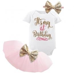 1 rok Baby Girl Urodziny Sukienka Dzieci Ubrania Dla Dzieci Złoty Łuk 6 Miesięcy 1st 2nd Urodzin Chrztu Sukienki Dla Dziewczynek