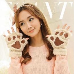 2017 Nowy Zamieszczone 1 para z Winter Warm Kobiety Lady Łapa Rękawiczki Bez Palców Puszyste Niedźwiedź Kot Pluszowy Paw Cosplay