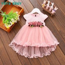 Kwiat Noworodka Dziecko Sukienka 2018 Nowy Lato Śliczne Dziewczyny Dziecko Ubrania Mesh Jednolity Odzież Dla Niemowląt 1 Rok Uro