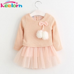 Keelorn Baby Girl Dress 2018 Nowy Casual Jesienne Ubrania Dla Dzieci Z Długim Rękawem Chusta Niedźwiedź Pasy Fałszywe Dwuczęścio