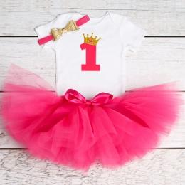 Newborn Baby Girl Odzież Dziewczynka 1st Urodziny Stroje Dla Niemowląt Romper + Tutu Sukienka + Pałąk Niemowlę Party Kostium Dla