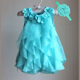 Girls Dress 2017 Lato Szyfon Party Dress Niemowląt 1 Rok Urodziny Dress Baby Girl Odzież Suknie i Opaska Vestidos