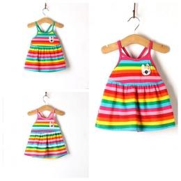 Baby Girl Dress Prawdziwe Plaża 2018 Nowy Kobiet dziecka Rainbow Paski Kamizelki Z 100% Bawełna Dziewczyny W Domu Z wygodne Lato