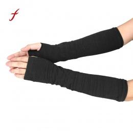 Winter Glove Nadgarstek Ręka Ręka Czarne rękawiczki Długie Rękawiczki Bez Palców Z Dzianiny Cieplej Mitten