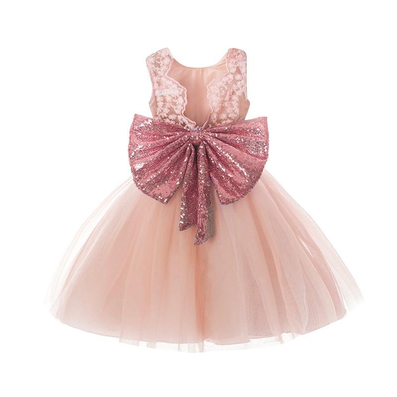d85fcd46a0 ... Księżniczka Dziewczyna nosić Bez Rękawów Bow Sukienka dla 1 rok  urodziny Maluch Kostium Lato na Imprezy ...
