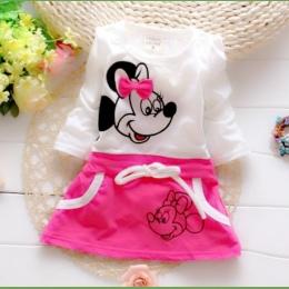 Nowy trend forniru lato Minnie Księżniczka Piękna Księżniczka Sukienka Sukienka Dziewczyny Garnitur dla dziecka okrągły kołnierz