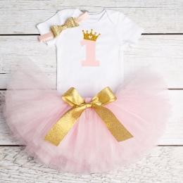1 rok Baby Girl Dress Księżniczka Dziewczyny Tutu Sukienka Tolldler Ubrania Dla Dzieci Baby Chrzest 1st Pierwsze Urodziny Stroje