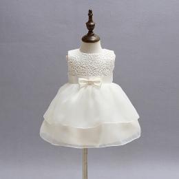 Vintage Koronki Niemowlę Dziewczynka Korowód Suknia Ślubna Księżniczka Little Girls 1 Rok Birthday Party Dress Noworodka Chrzcin
