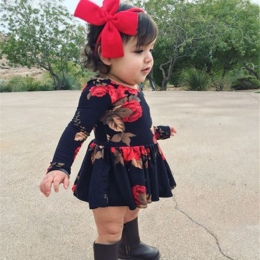 Noworodka Dziewczynek Floral Z Długim Rękawem Party Korowód prom Sukienka Ubrania