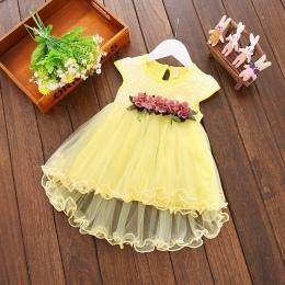 Niemowlę Dzieci Baby Girl odzież Summer Floral print Geometria okrągły neck bez rękawów bawełna dorywczo Księżniczka Sukienek je