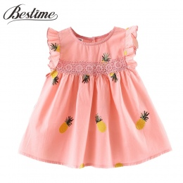 Dziecko Dziewczyny Ubrania 2018 Jesień Z Długim Rękawem Dziecko Sukienka Ananas Sukienka dla Niemowląt Maluch Bawełniane Koronki