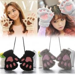 1 pair Puszyste Niedźwiedź/Kot Pluszowy Paw/Claw Nowość Halloween Miękkie Ręcznikowe Pół Pokryte Rękawiczki damskie Rękawiczki r