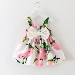 Dziecięce ubranka dla dzieci marki projektowania bez rękawów drukuj bow dress 2016 letnie dziewczyny odzież dla dzieci fajne cot