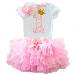 Słodki Różowy My Little Girl Pierwsza 1st Birthday Party Dress Tutu Ciasto Smash Stroje Sukienka dla Niemowląt Baby Girl Chrzest