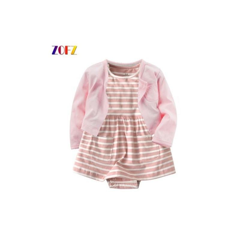 d33157cef3 ... ZOFZ New baby Girl Dress Regularne O-Neck 2 sztuk Suknie dla dziewczyny  Bawełna Kwiatowe ...