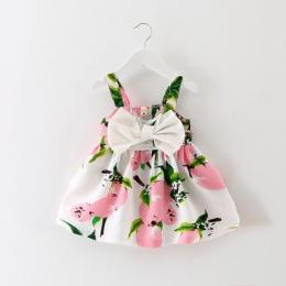 2018 Sukienki Sukienka Letnia Dziewczynka Cytryny Druku Noworodka Chrzciny Suknie Księżniczka Sukienka Urodziny dla Dziewczyny