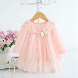 Newborn Cute Baby Hafty Bawełna Sukienka Baby Girl Dress 0-2Y niemowlę Dziecko Urodziny Sukienka Ubrania Dla Dzieci z Misia Zaba