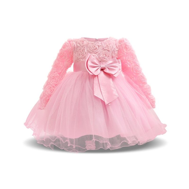 125acc8298 ... Zima Sukienka Dla Dziewczynki Z Długim Rękawem Biały Chrzest Sukienki  Dziewczynka 1 Rok Urodziny Nosić Dziewczyna ...