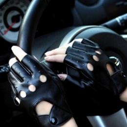 1 Pair Moda Half Finger Rękawice Jazdy Kobiet PU Skórzane Rękawiczki Bez Palców Dla Kobiet Czarny