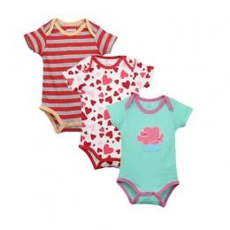 3 SZTUK/PARTIA Nowy Piękny Druk Kombinezon Dla Niemowląt Body Dla Dziecka Czystej Bawełny Z Krótkim Rękawem Chłopcy Dziewczyny U