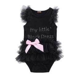 Śliczne Dzieci Noworodka Infantil Dziewczynek Łuk Haftowane Little Black Dress Fashion List Romper Kombinezon
