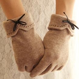 Moda Elegancki Kobiet Wełny Ekran Dotykowy Rękawiczki Zimowe Kobiety Ciepłe Cashmere Pełna Finger Skóra Łuk Przerywana haftowani