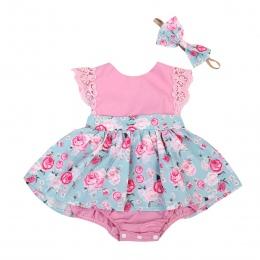 Dziewczynka Romper Koronki Bez Rękawów Słodkie Letnie Ubrania I Zabawy Dla Dzieci Dziewczyny Dzieci Odzież Bluzki Stroje Set Flo