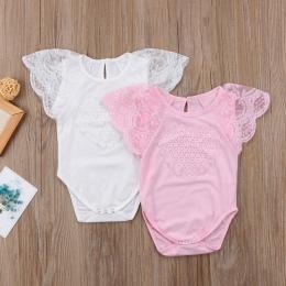 2018 Noworodka Baby Dziewczyny Latanie Koronki Pachwork Rękawy Jednolity Kombinezon Body Playsuit Sunsuit Dorywczo Ubrania