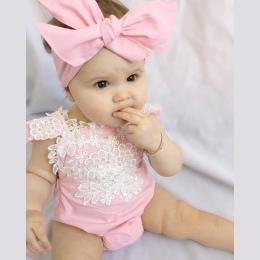 2 SZTUK Super Śliczny Różowy Romper dla dziecka dziewczyny Newborn Baby Girl Sunsuit Pajacyki Kombinezon Koronki Kwiatowy Ubrani