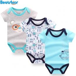 3 sztuk/partia Body Niemowlęce Bawełna Baby Boy Dziewczyna Odzież Dla Niemowląt Z Krótkim Rękawem Kombinezon Body dla Niemowląt