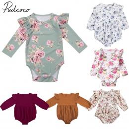 2018 Brand New Maluch Niemowlę Newborn Baby Dziewczyny Dzieci Długi Rękaw Motyl Romper Stroje Playsuit Kombinezon Floral Ubrania