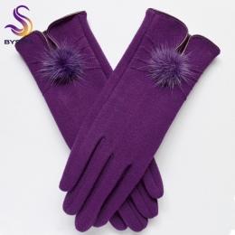 [BYSIFA] kobiety Norek piłka Projekt Zimowe Rękawiczki Damskie Rękawiczki Wełniane Mody Otwarcie New Trendy Eleganckie Miękkie C