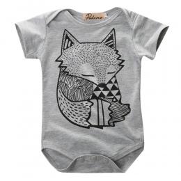 Unikalne Maluch Niemowlę Newborn Baby Chłopcy Dziewczęta Szary Fox Drukuj Romper Kombinezon Sunsuit Stroje