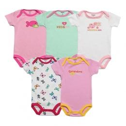 5 sztuk/partia Dziecko Body 100% Bawełna Niemowląt Body Krótki Rękaw Odzież Podobne Kombinezon Cartoon Drukowane Baby Boy Dziewc